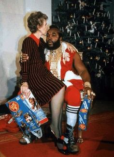 Yes, that is Nancy Reagan. Yes, that is Mr. T. From http://www.howtobearetronaut.com/2011/06/famous-people-hanging-out/ (they give the explanation in the comments... but it's almost funnier when you don't know)