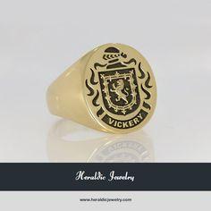 Gold family crest rings