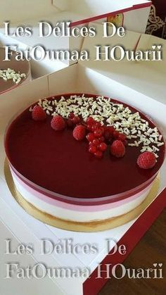 Raspberry White Chocolate Raspberry Entremet - Les Delices by FatOumaa HOuariii: Recipe Book Fancy Desserts, Summer Desserts, Vegan Desserts, Just Desserts, Delicious Desserts, Frosting Recipes, Cookie Recipes, Chocolate Mousse Cake Filling, Naked Cakes