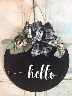 Fantastic farmhouse decor diy are offered on our website. Fall Door Decorations, Fall Decor, Fall Door Hangers, Hello Sign, Round Door, Realtor Gifts, Diy Signs, Wood Signs, Pallet Signs