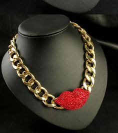 2013  Sexy  Red Lips Metal Statement Chokers by ForYourfashion, $20.99