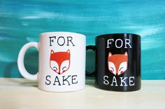 For Fox Sake black/white coffee mug - funny mug, fox mug, cartoon mug, gift