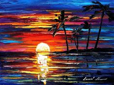 Tropical Fiesta-palette knife seascape oil on canvas by Leonid Afremov Popular Paintings, Modern Art Paintings, Modern Wall Art, Sunset Paintings, Oil Painting Texture, Oil Painting On Canvas, Canvas Art, Painting Art, Extra Large Wall Art