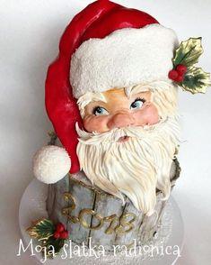 Happy New Year cake by Branka Vukcevic Christmas Themed Cake, Christmas Cake Topper, Christmas Cupcakes, Fancy Cakes, Cute Cakes, Christmas Baking, Christmas Fun, Fondant Cake Designs, New Year's Cake