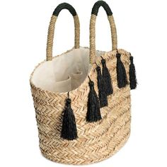 Straw shopper ($36) ❤ liked on Polyvore featuring bags, handbags, tote bags, woven tote bags, shopping tote bags, straw tote bag, embellished handbags and shopper tote handbags