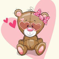 Cute bear girl in sunglasses on a heart background Teddy Bear Cartoon, Cute Teddy Bears, Blue Nose Friends, Cute Friends, Tatty Teddy, Cartoon Images, Cute Cartoon, Cute Images, Cute Pictures