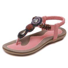 26.75$  Watch now - http://ali3zd.shopchina.info/go.php?t=32797134488 - Size 35-45 2016 Bohemian Women Sandals Gemstone Beaded Slippers Summer Beach Sandals Women Flip Flops Ladies Flat Sandals Shoes  #bestbuy