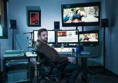 Brent White and the key to film editing: Finding the funny in . Guest Room Office, Home Office, Video Editing Studio, Home Studio Desk, Agency Office, Editing Suite, Workspace Inspiration, Film Studio, Small Office