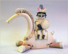 Italian Ceramics - Horse with knight by Riccardo Biavati