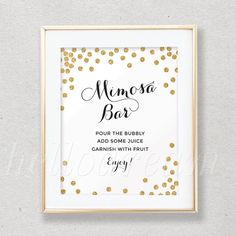Gold Mimosa Bar Sign Bubbly Bar SignWhite and by hellodreamstudio