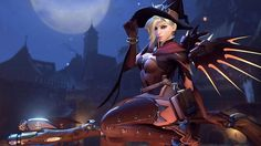 Witch Halloween Mercy Overwatch Girl Wallpaper