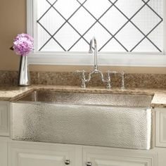 "33"" Nickel-Plated Hammered Copper Farmhouse Sink."