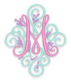Fonts :: Embroidery Fonts :: Adorn Scroll Monogram