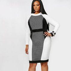 Trendy Design Long Sleeve Plus Size Dress