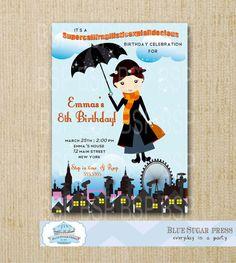 Mary Poppins Birthday Party Invitations/ Mary Poppins Invitations/Printable Invitation, digital file