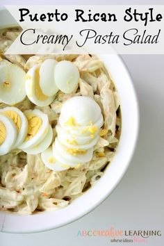 Puerto Rican Style Creamy Pasta Salad. Super easy to make and perfect for spring and summer! -abccreativelearning.com #BarillaLovesMoms #ad