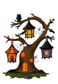 Lantern Tree Cottage Cutz Die Cute Halloween~try to do on Cricut Retro Halloween, Halloween Rocks, Halloween Gif, Halloween Painting, Halloween Drawings, Halloween Clipart, Halloween Pictures, Halloween Cards, Holidays Halloween