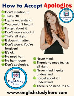 How to Accept Apologies in English Speaking English Study Here Studying Tips 2019 Englisch lernen, E English Sentences, English Vocabulary Words, English Phrases, English Idioms, Teaching English Grammar, English Writing Skills, English Language Learning, German Language, Japanese Language