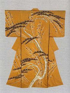 """Kimono with dotted line yuzen-zome pattern """"Mountain Path"""" by Yamada Mitsugi, Japanese National Living Treasure"""