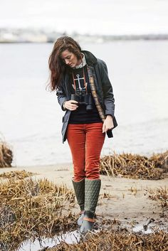 Anchor sweater, chambray, plaid, colored cords