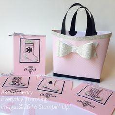 Stampin' Up! クリスマス・ストッキング・シンリッツダイのピンクのカードとバッグ | Everyday Stamping 〜スタンピン・アップ ! 癒しのペーパークラフト〜