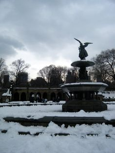 Bethesda Fountain, which magically turns into Emma Thompson in Angels in America.