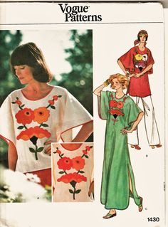 RARE and Wonderful 70's Vogue Pattern 1430 by harmonycollectibles