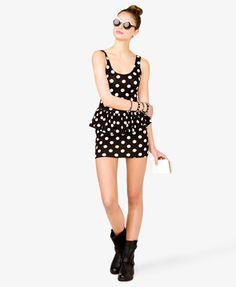 Polka Dot Peplum Dress | FOREVER 21 - 2026218188