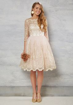 Gilded Grace Lace Dress in Blush. Step down the staircase in this blush pink dress by Chi Chi London feeling like a beauty from a bygone era! #blush #wedding #bride #prom #modcloth