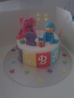 Pocoyo y Eli #pocoyo #eli #fondant #happycakes #birthdaycakes