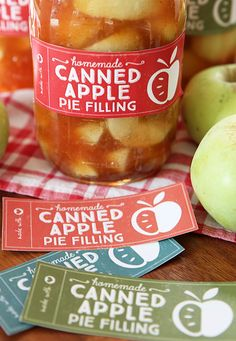 Homemade Apple Pie Filling and canned apple filling labels