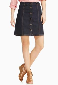 89e5a1a1376 Cato Fashions Seamed Button Front Denim Skirt-Plus  CatoFashions Button  Front Denim Skirt