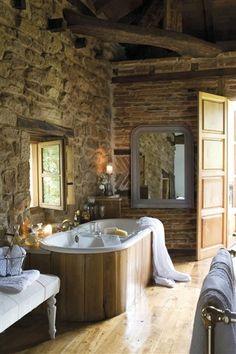 Rustic Spa Bath In Chestnut Stone And Exposed Brick Wall W Herringbone Accent