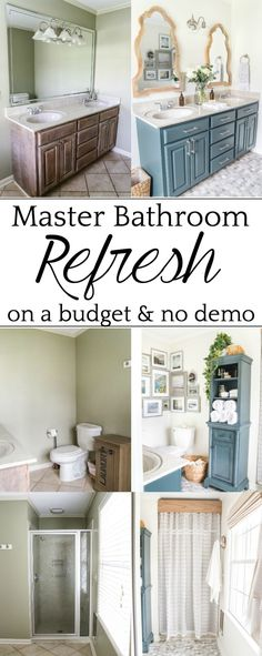 Budget Master Bathroom Refresh Reveal | A dated master bathroom gets a budget-friendly refresh using paint, organizing tricks, and DIY solutions for modernizing a space. #bathroomrefresh #masterbathroom #bathroommakeover #budgetbathroom #bathroomreveal #coastalbathroom #coastalstyle