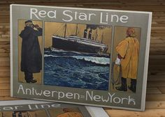 "Vintage Red Star Line Travel Poster - Antwerpen = New York - Canvas Gallery Wrap - 14 x 10 #TP004. Vintage Red Star Line Travel Poster - Antwerpen = New York - Canvas Gallery Wrap - 14 x 10. Hand stretched canvas gallery wrap of the Vintage Red Star Line Travel Poster - Antwerpen = New York. Digitally reproduced on canvas with archival UltraChrome Ink and sprayed with protective UV coating. ● Made to order. ● Professionally stretched around 1.25"" thick wood frames. ● 30 days money back..."