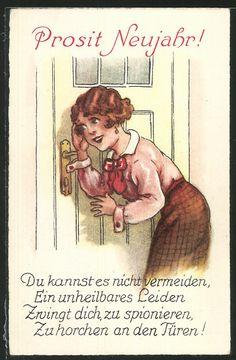 old postcard: AK Neugierige Frau hält ihr Ohr an die Tür und lauscht, frauenfeindlicher Humor