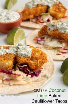 Crispy Coconut Lime Baked Cauliflower Tacos - super crispy, but absolutely OIL FREE! With a sweet and sour quick slaw and a creamy tangy DAIRY FREE tartar sauce, these tacos are going to be your new favorite recipe! #vegan #dairyfree #oilfree