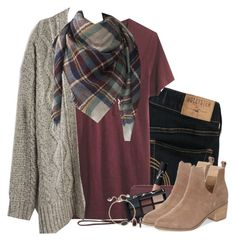 """""""Chunky cardigan, plaid scarf & burgundy tee"""" by steffiestaffie on Polyvore featuring Hollister Co., Madewell, AllSaints, NARS Cosmetics, Sole Society and Kendra Scott"""