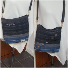 A cross body bag made out of  jeans waistbands