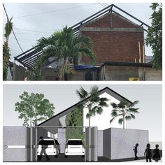 "soon in early long span roof house. creating an open ""void""roof at the balcony on the floor, and double high ceiling from main entrance at the ground floor. Tropical Architecture, Roof Architecture, Cool Tree Houses, Fairy Houses, House Roof, My House, Fasade Design, Tree House Designs, Narrow House"