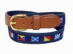 Boating Nautical Signal Flag Sports Leather Belt Wholesale 9808NB