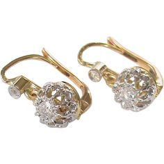 Antique French 18k Gold Diamond Earrings