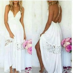 Last one . White long maxi dress coverup fits med Tag says large would fit med 8/10 best  Super cute white beach dress or cover up. Does have a lining but more of a cover up. Top fits up to 36 C i personally would not say any larger unless wearing as a cover up. I wear mine and receive lots of compliments its very cute. I can not re- order these at this time  so this is only size i have. Sherri Souza Jewelry & Boutique Dresses Maxi