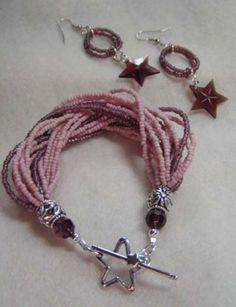 ** Pink, & Mauve Twenty Strand Beaded Bracelet & Star Earrings Jewelry  @thisyearsdozen