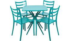 5 Piece Plastic Dine Set - Teal   Home & Garden   George at ASDA