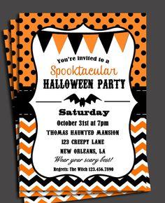 halloween invitation printable chevron polka dot halloween birthday or halloween bash - Halloween Birthday Invitations Printable