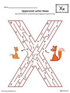 The Uppercase Letter X Maze in Color is an excellent worksheet for your preschooler or kindergartener to practice identifying the letters of the alphabet. Letter X Crafts, Preschool Letter Crafts, Letter Maze, Letter Sorting, Mazes For Kids, Abc For Kids, Preschool Education, Preschool Learning, Writing Worksheets