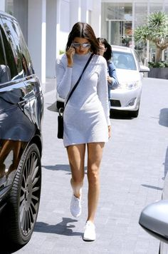 Kendall Jenner wearing Celine Nano Bag, Nike Air Max Thea Running Sneakers, Cartier Juste Un Clou Bracelet, Dior Technologic Sunglasses and MINKPINK Ribbed Skivvy Sweater Dress