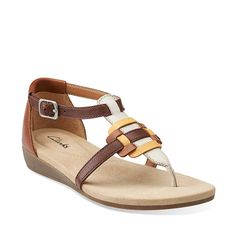 Qwin Adonia in Tan Leather - Womens Sandals from Clarks