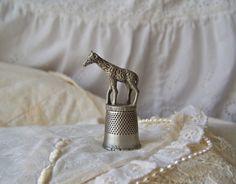 Vintage Giraffe Pewter Thimble by cynthiasattic on Etsy, $25.00